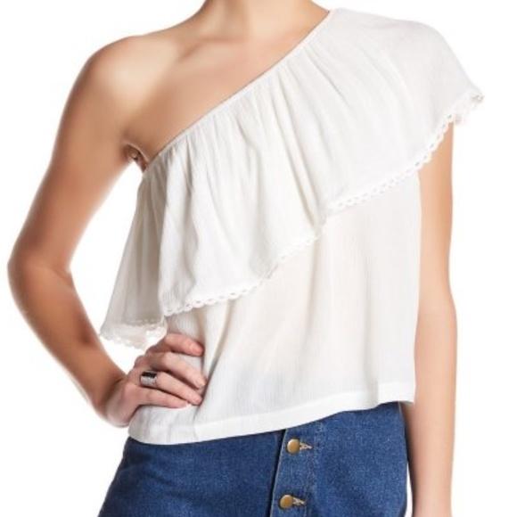 8fedbf017ac Lush Tops | Nwt Nordstrom White One Shoulder Ruffle Blouse | Poshmark